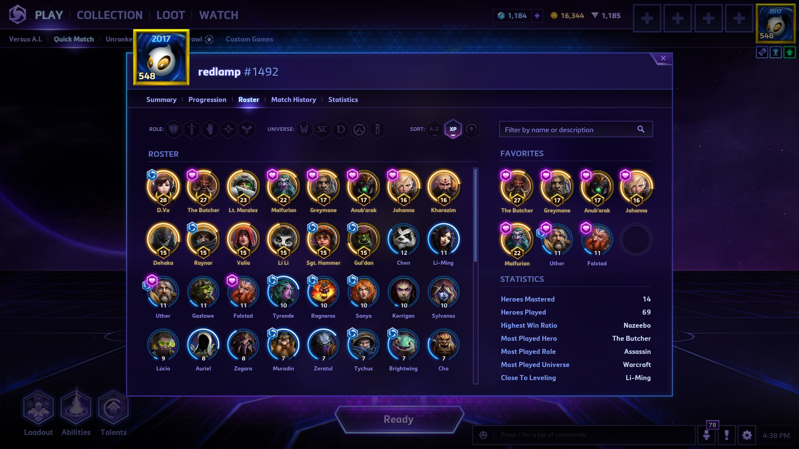Player Profile - Hero Roster